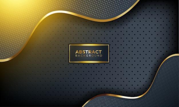 Moderne donkere achtergrond met glans, gouden lijn en glitter Premium Vector