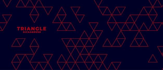 Moderne donkere achtergrond met rood driehoekspatroon Gratis Vector