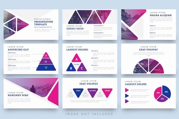 Moderne driehoek vorm professionele presentatiesjabloon set Premium Vector