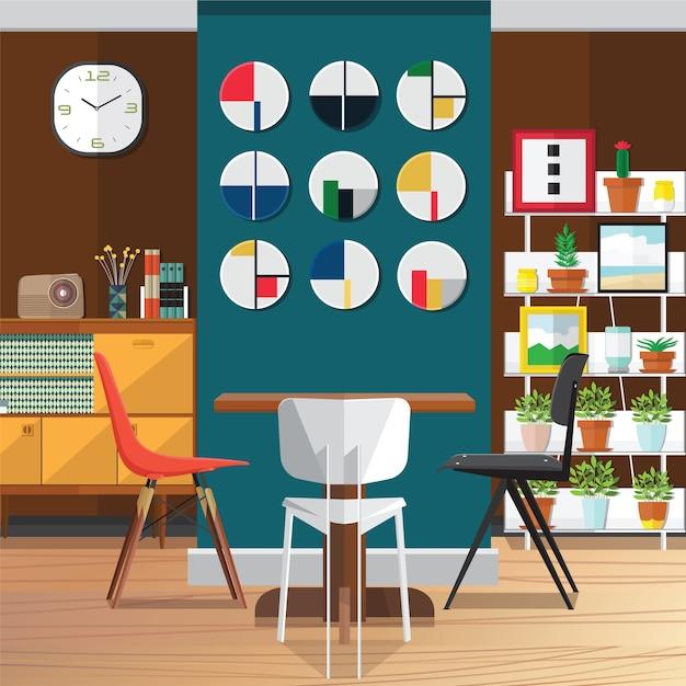 Moderne eetkamer interieur ideeën verfraaien | Vector | Premium Download
