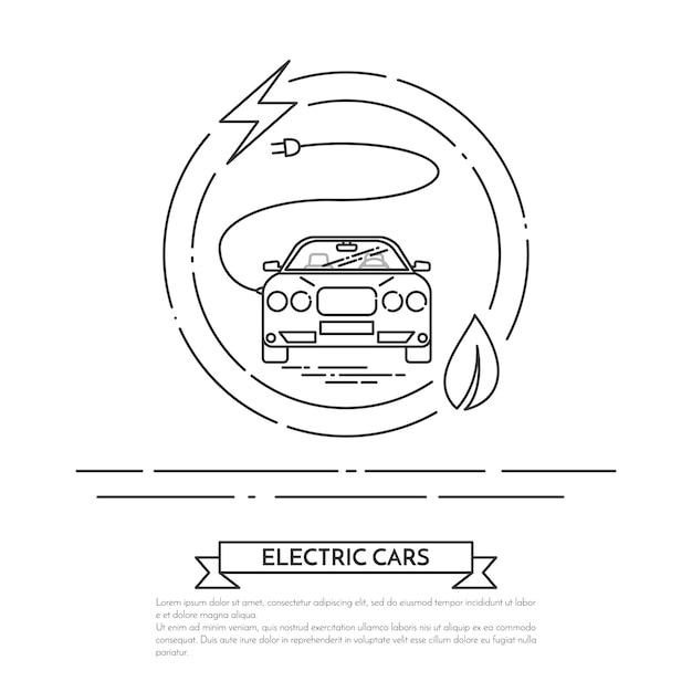 Moderne elektrisch aangedreven auto met snoer, stekker. Premium Vector