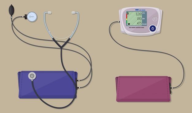 Moderne en klassieke bloeddrukmeting Premium Vector