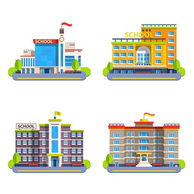 Moderne en klassieke schoolgebouwen Gratis Vector