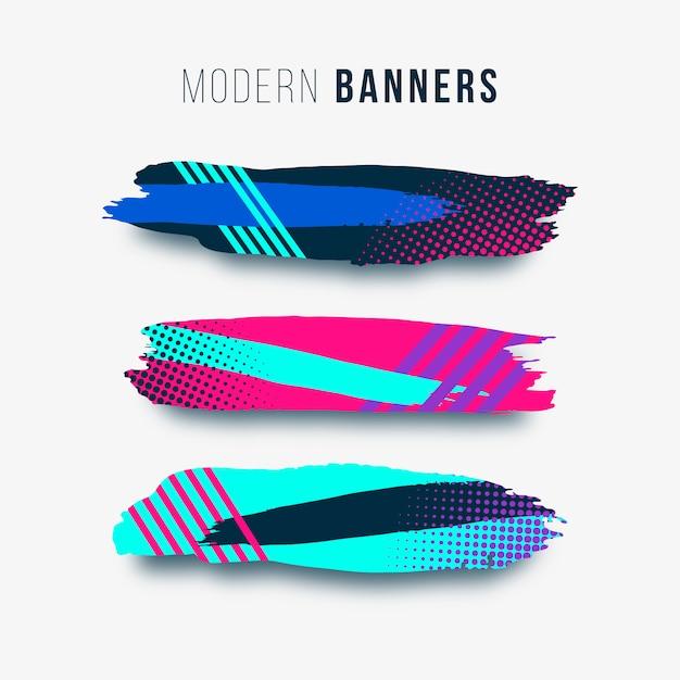 Moderne en kleurrijke penseelstreken Gratis Vector