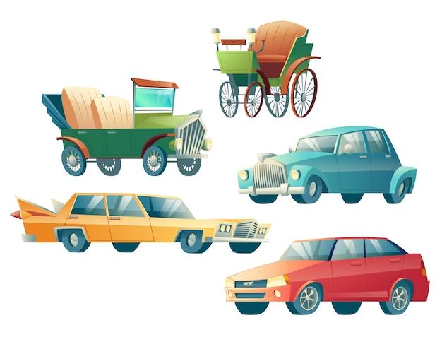 Moderne en retro auto's cartoon vector iconen instellen geïsoleerd Gratis Vector