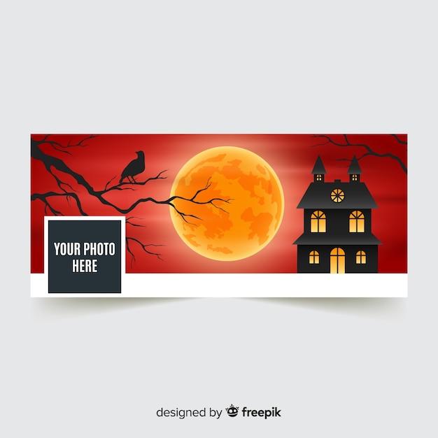 Moderne facebookbanner met halloween-concept Gratis Vector