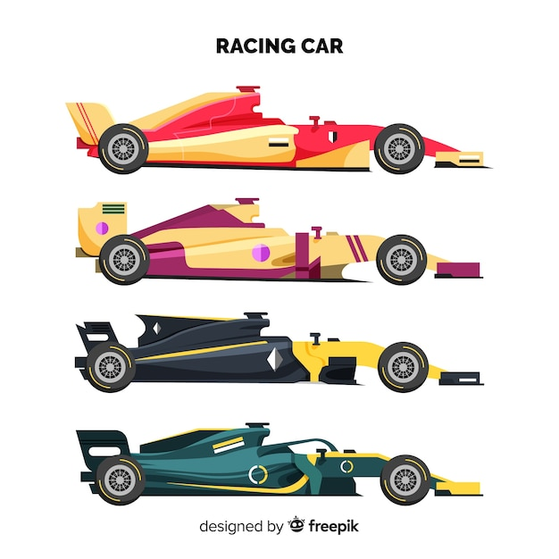 Moderne formule 1 raceauto's collectie Gratis Vector