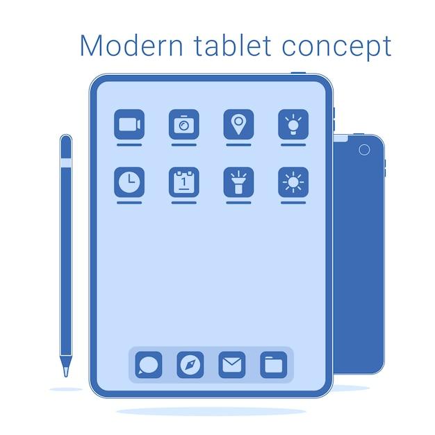 Moderne frameloze tablet met pen Premium Vector