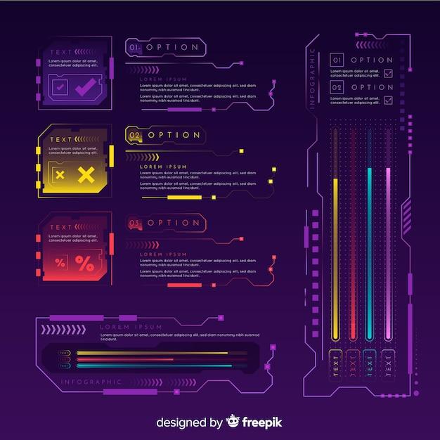 Moderne futuristische infographic elementeninzameling Gratis Vector