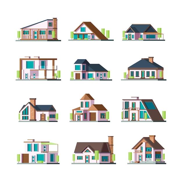Moderne gebouwen. wonen huizen villa herenhuis voorstedelijke gevelconstructies torenillustraties Premium Vector
