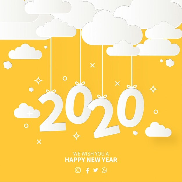 Moderne gelukkig nieuwjaarskaart met platte ontwerp Gratis Vector