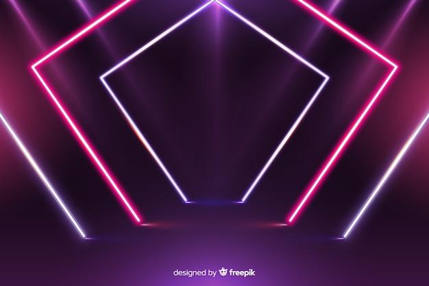 Moderne geometrische neonlichtenachtergrond Gratis Vector