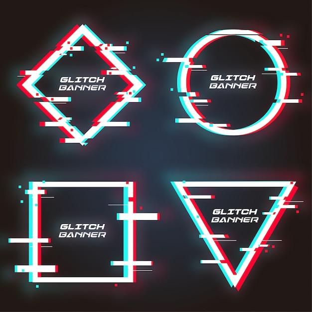 Moderne glitch banner-collectie Gratis Vector