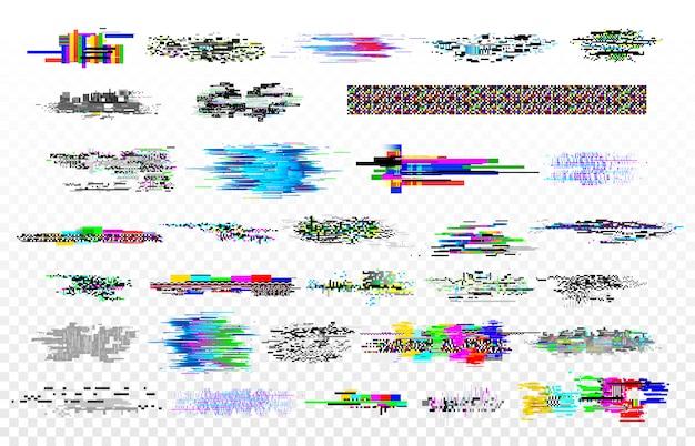 Moderne glitch-collectie. tv-ruis glitches, monitor signaal verval en scherm bug. digitale gegevens glitched signalen textuur vector set Premium Vector
