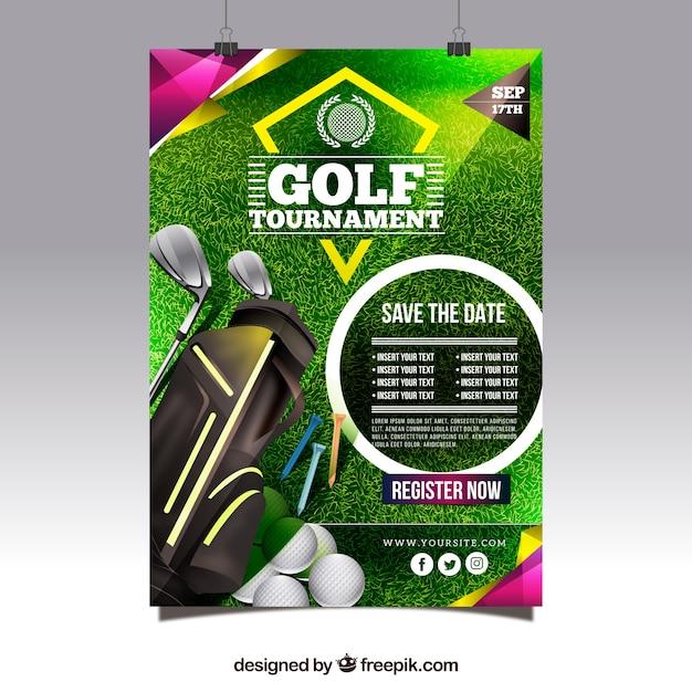 Moderne golftoernooi poster Gratis Vector