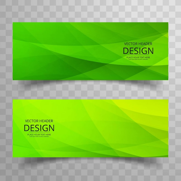 Moderne groene banners Gratis Vector