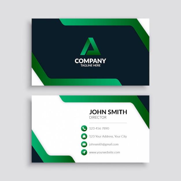 Moderne groene zakelijke visitekaartje Premium Vector