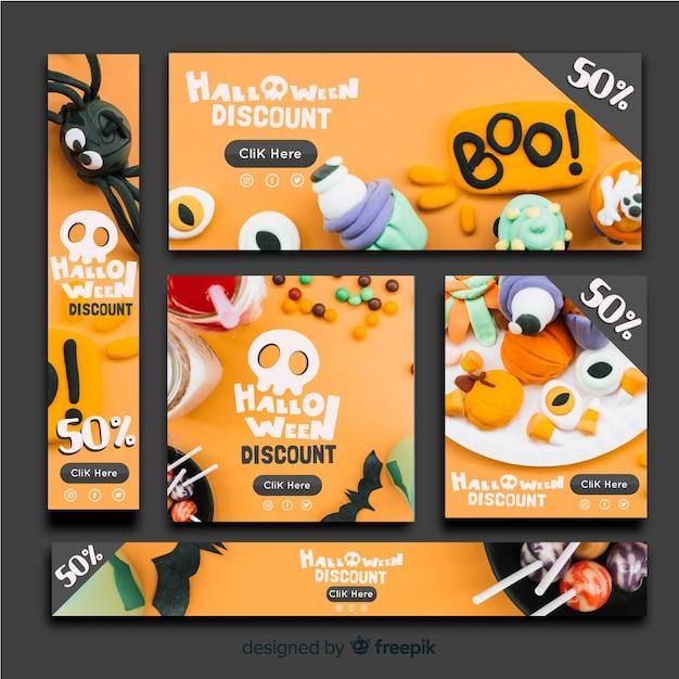 Moderne halloween-banners met realistisch ontwerp Gratis Vector