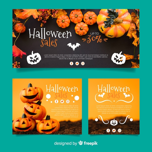 Moderne halloween webverkoop banner collectie Gratis Vector