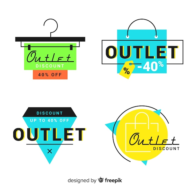 Moderne hand getekende outlet badge-collectie Gratis Vector