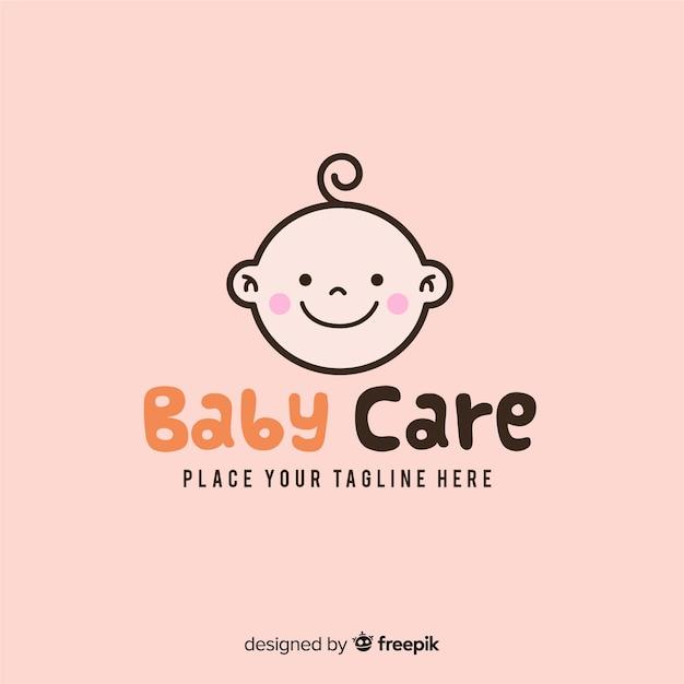 Moderne hand getrokken baby logo sjabloon Gratis Vector
