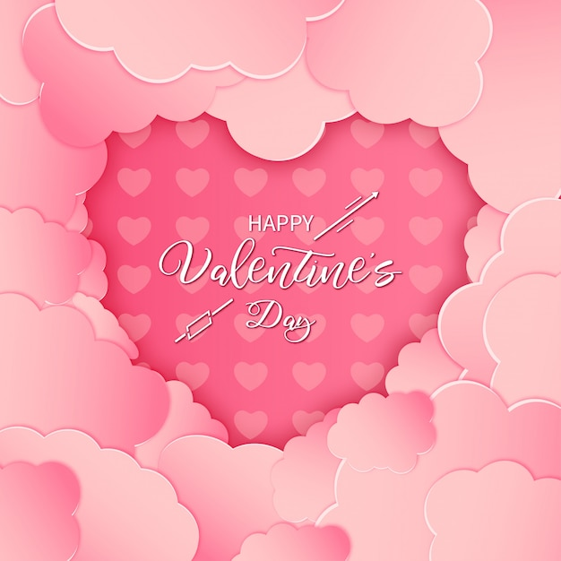 Moderne happy valentine's day card met roze papier gesneden wolken Gratis Vector