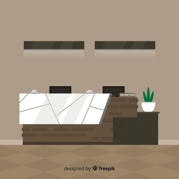 Moderne hotelreceptie met platte vormgeving Gratis Vector