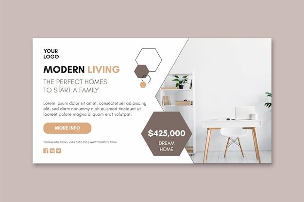 Moderne huizen sjabloon banner Premium Vector