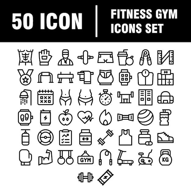 Moderne iconen set van fitness, oefening, fitnessapparatuur, sport, activiteit, recreatie, voeding. Premium Vector