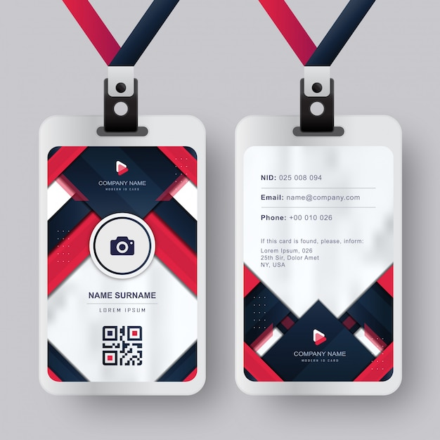 Moderne identiteitskaart-kaart met rood-blauwe marine absract achtergrond Premium Vector