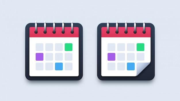 Moderne illustratie kalenderpictogrammen Premium Vector