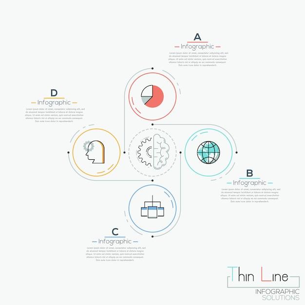 Moderne infographic, 4 cirkelvormige elementen met rond geplaatste pictogrammen Premium Vector