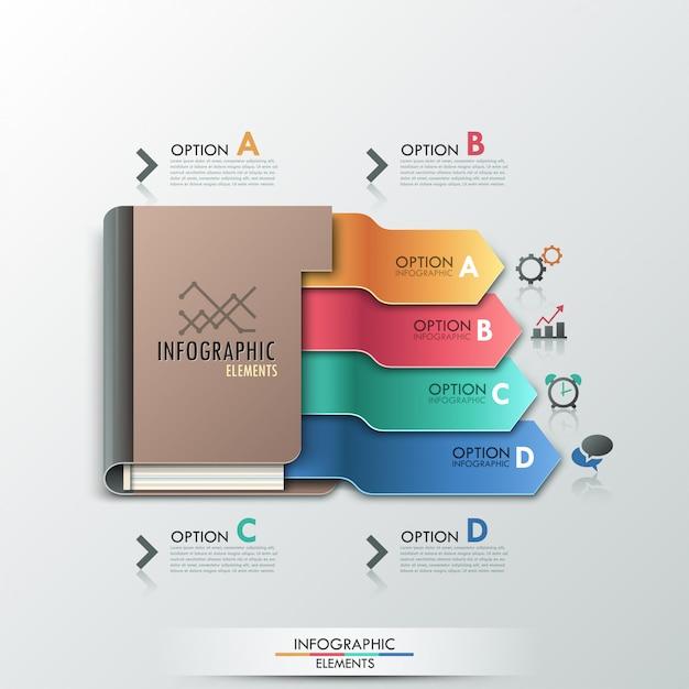 Moderne infographic-optiesbanner met agenda Premium Vector