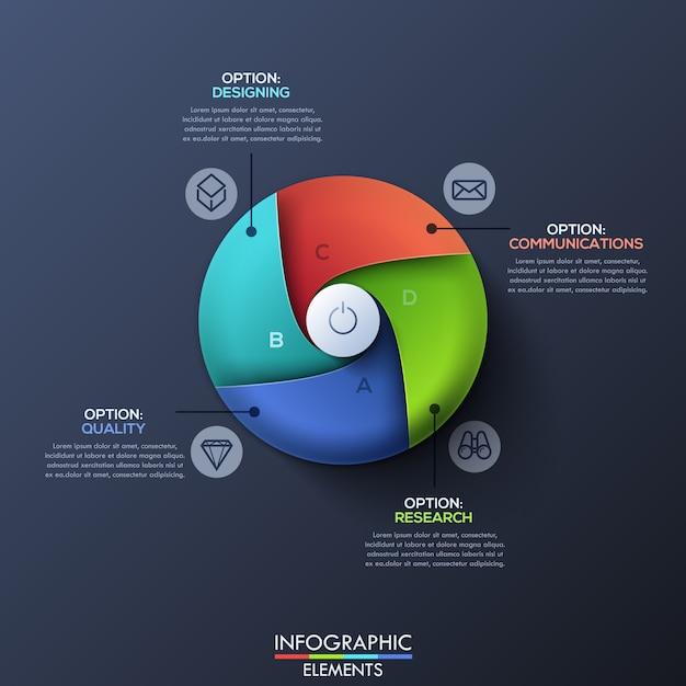 Moderne infographic sjabloon met verdeelde cirkel Premium Vector