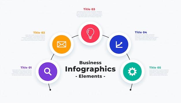 Moderne infographic sjabloon met vijf stappen of punten Gratis Vector