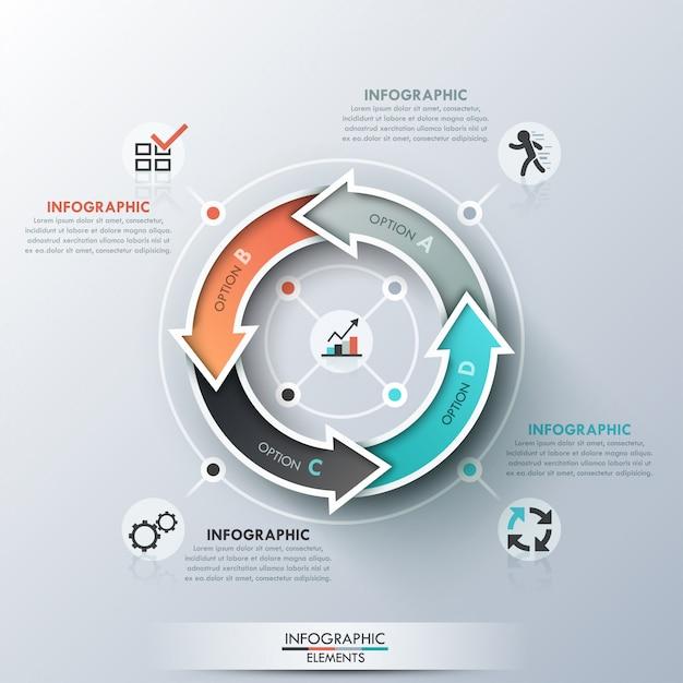 Moderne infographics cyclus sjabloon Premium Vector