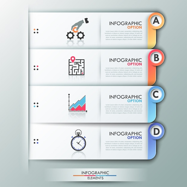 Moderne infographics opties sjabloon met vellen papier Premium Vector