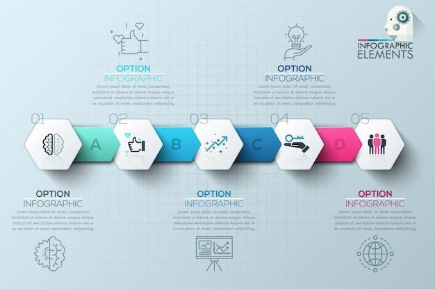 Moderne infographics processjabloon met papieren polygonen voor 5 stappen Premium Vector