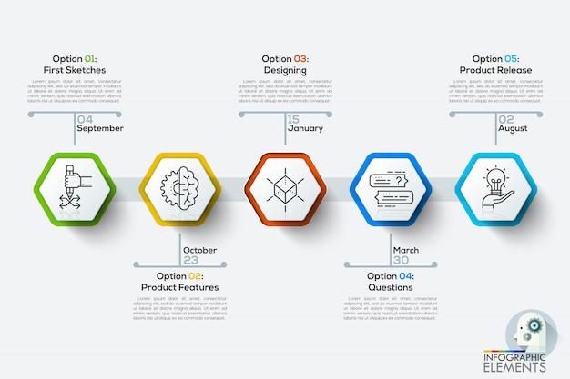 Moderne infographics tijdlijn sjabloon met 5 witte polygonen. Premium Vector