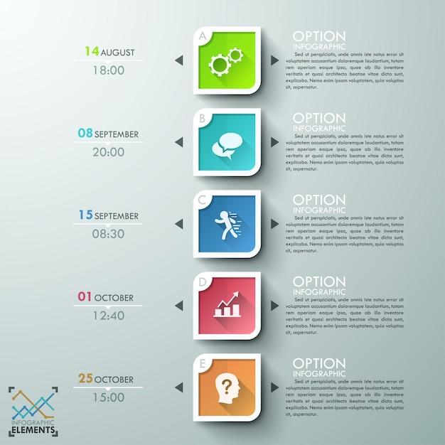 Moderne infographics tijdlijnsjabloon Premium Vector