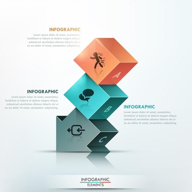 Moderne infographicsoptiesbanner met 3d pijl Premium Vector