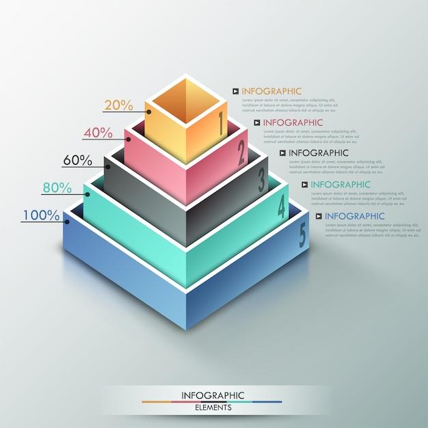 Moderne infographicsoptiesbanner met 3d piramide Premium Vector