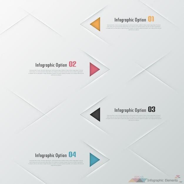Moderne infographicsoptiesbanner met driehoeken Premium Vector