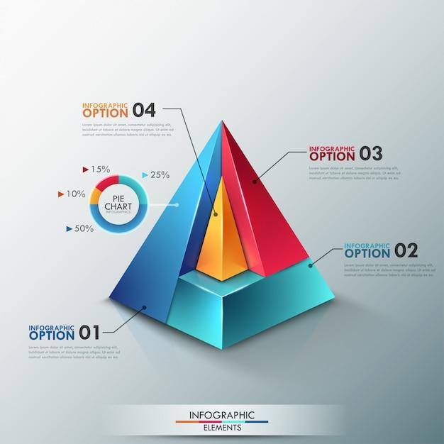 Moderne infographicsoptiesbanner met kleurrijke piramide Premium Vector