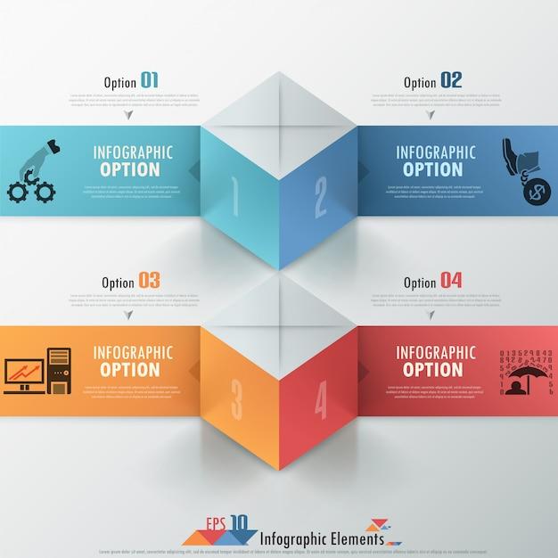 Moderne infographicsoptiesbanner met kubussen Premium Vector