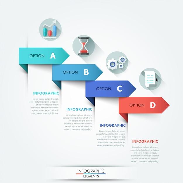 Moderne infographicsoptiesbanner met pijlen Premium Vector