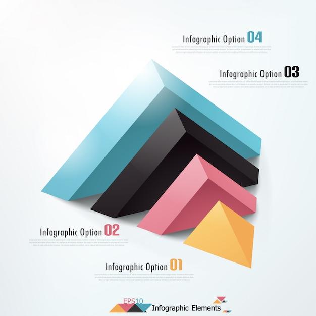 Moderne infographicsoptiesbanner met piramide Premium Vector
