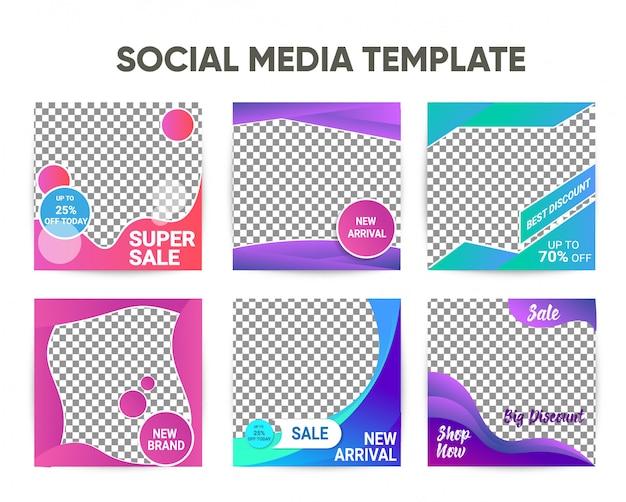 Moderne instagram vierkante postsjabloon met kleurrijke ontwerpset Premium Vector