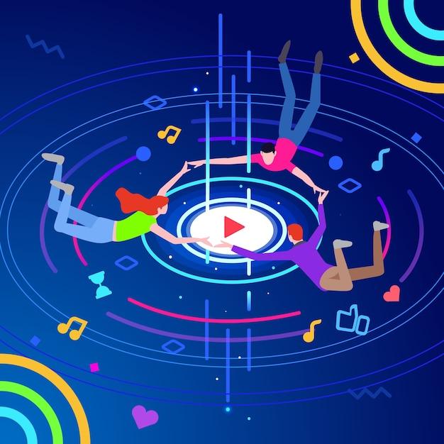 Moderne isometrische online muziek entertainment technologie illustratie Premium Vector