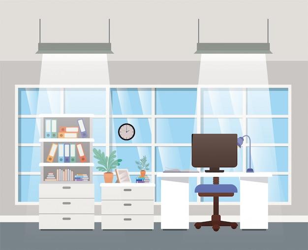 Moderne kantoor baas scène Premium Vector
